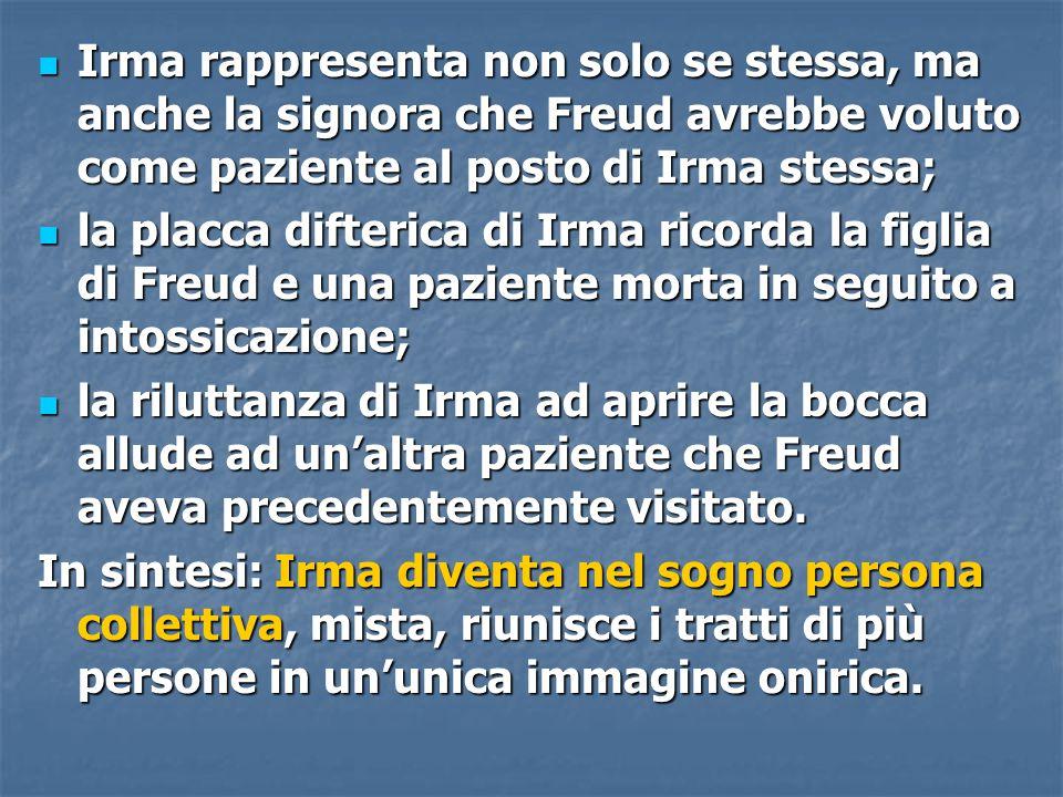 Irma rappresenta non solo se stessa, ma anche la signora che Freud avrebbe voluto come paziente al posto di Irma stessa;