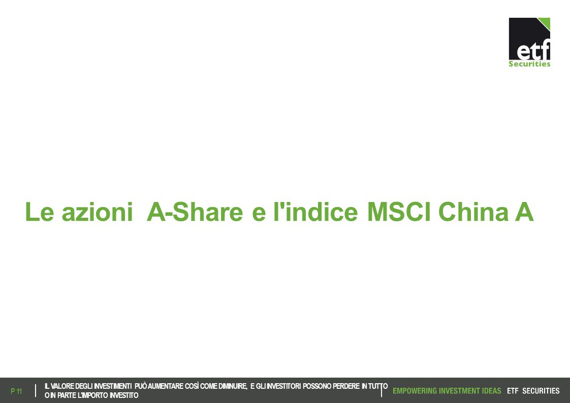 Le azioni A-Share e l indice MSCI China A