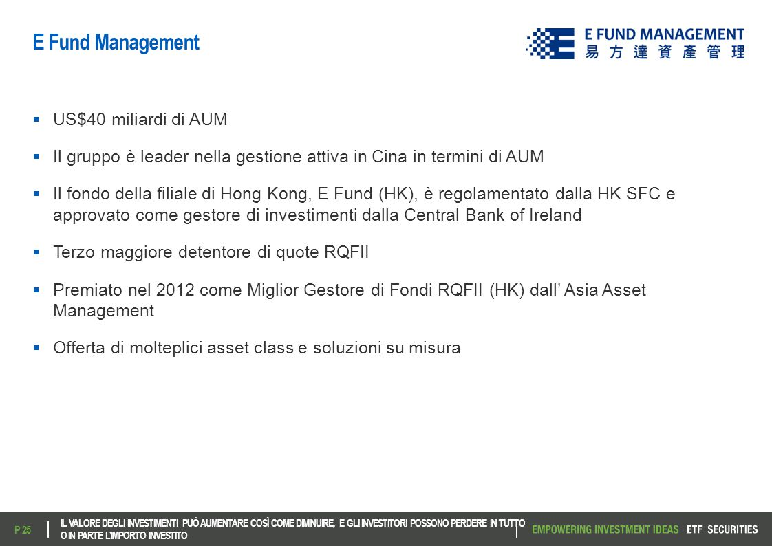 E Fund Management US$40 miliardi di AUM