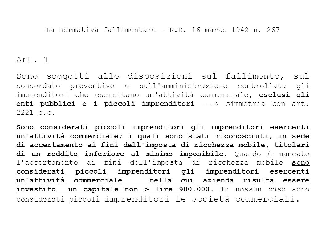 La normativa fallimentare – R.D. 16 marzo 1942 n. 267