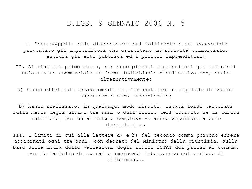 D.LGS. 9 GENNAIO 2006 N. 5