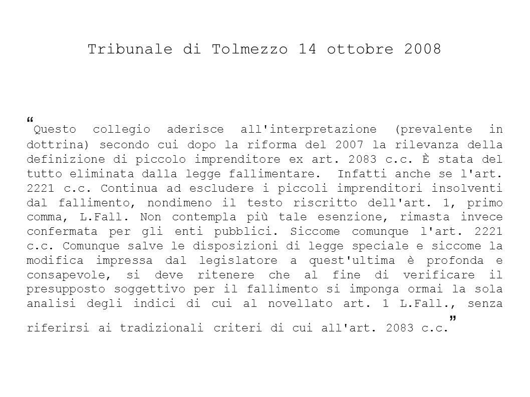 Tribunale di Tolmezzo 14 ottobre 2008