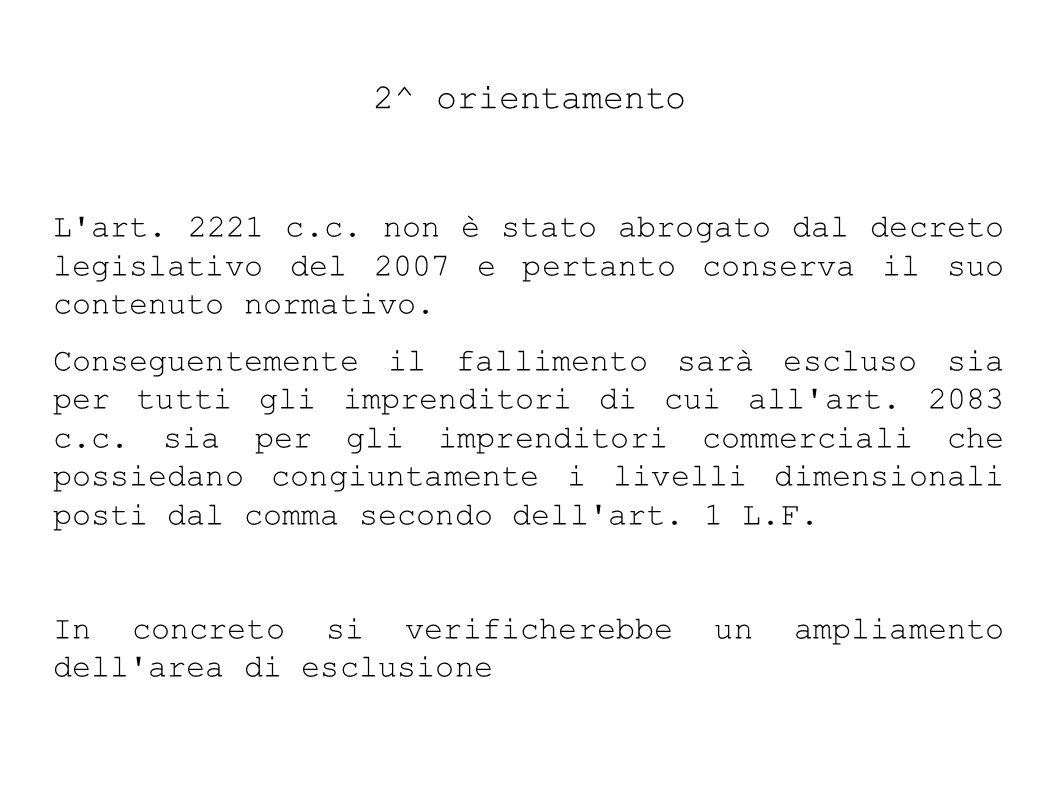2^ orientamento L art. 2221 c.c. non è stato abrogato dal decreto legislativo del 2007 e pertanto conserva il suo contenuto normativo.