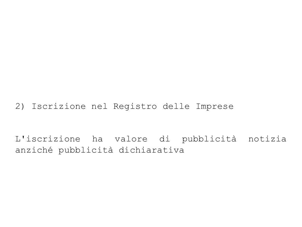 2) Iscrizione nel Registro delle Imprese