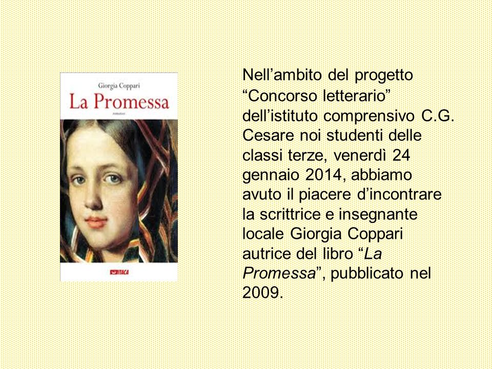 Nell'ambito del progetto Concorso letterario dell'istituto comprensivo C.G.