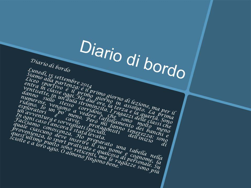 Diario di bordo Diario di bordo Lunedì, 15 settembre 2014