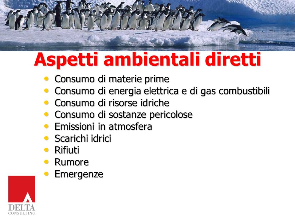 Aspetti ambientali diretti