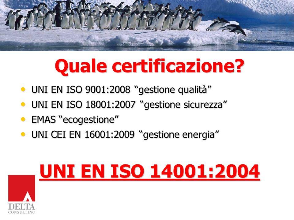 Quale certificazione UNI EN ISO 14001:2004