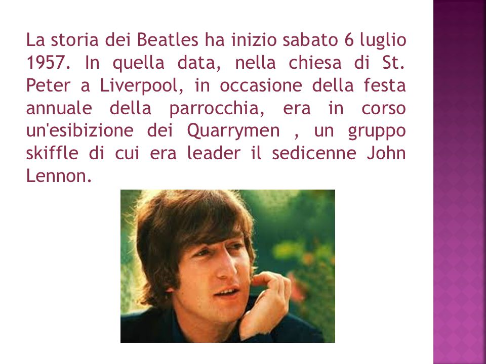 La storia dei Beatles ha inizio sabato 6 luglio 1957