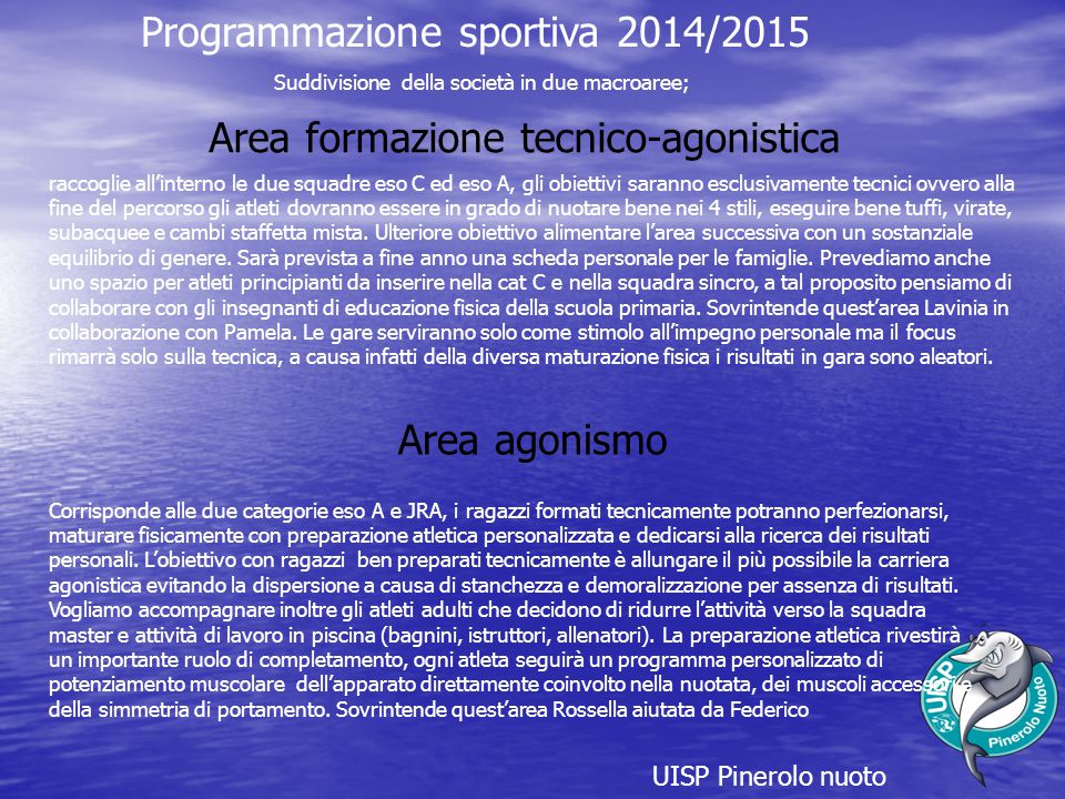 Programmazione sportiva 2014/2015