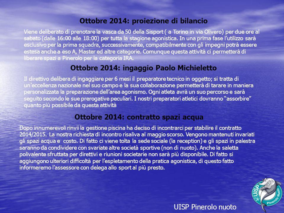 Ottobre 2014: proiezione di bilancio