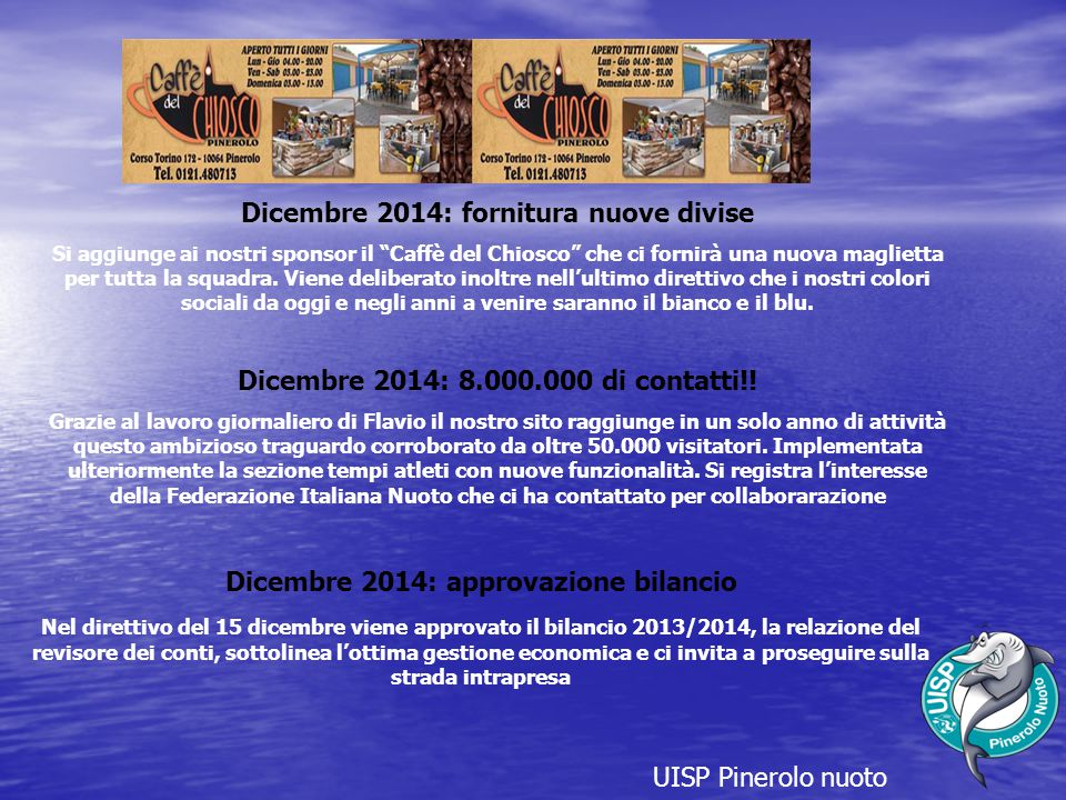Dicembre 2014: fornitura nuove divise
