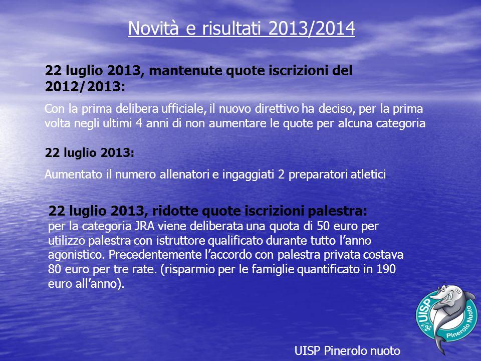 Novità e risultati 2013/2014 22 luglio 2013, mantenute quote iscrizioni del 2012/2013: