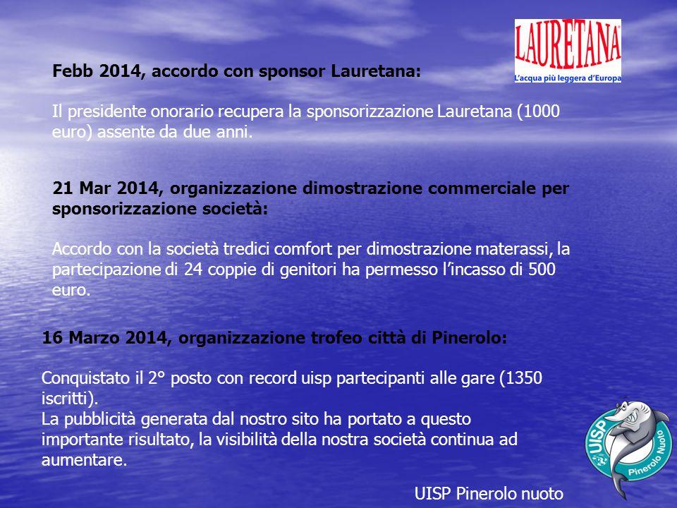 Febb 2014, accordo con sponsor Lauretana: