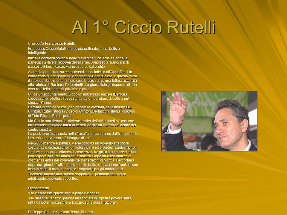 Al 1° Ciccio Rutelli Che cos è Francesco Rutelli.