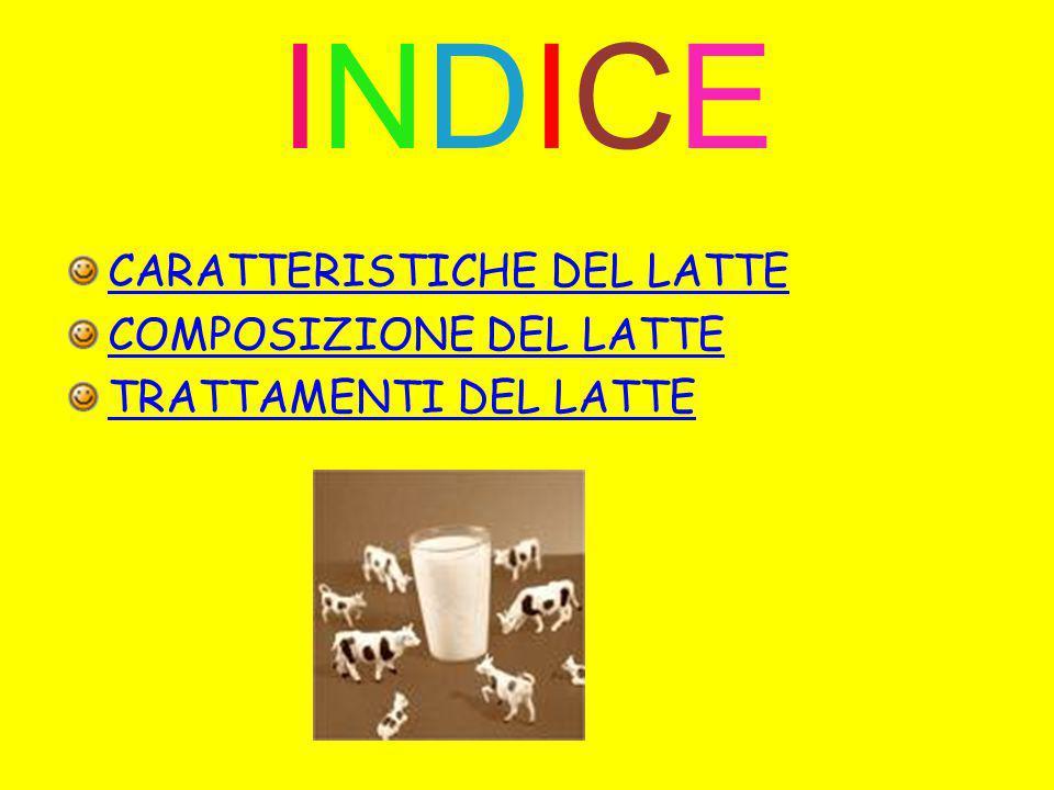 INDICE CARATTERISTICHE DEL LATTE COMPOSIZIONE DEL LATTE