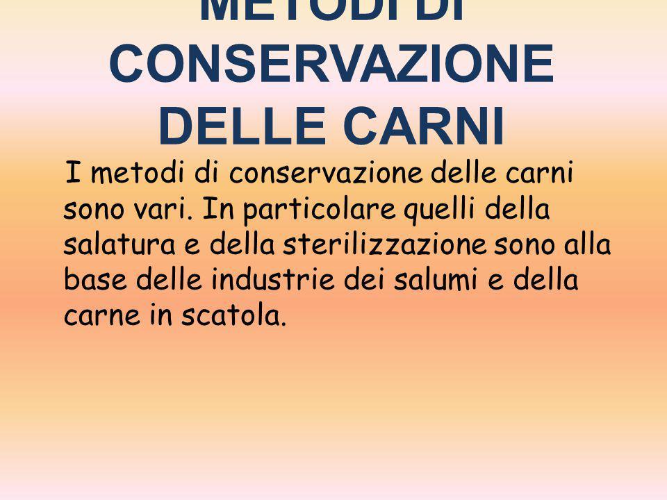 METODI DI CONSERVAZIONE DELLE CARNI