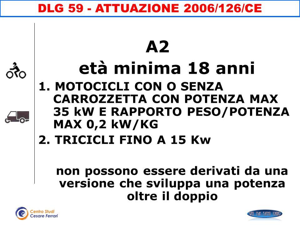 A2 età minima 18 anni DLG 59 - ATTUAZIONE 2006/126/CE