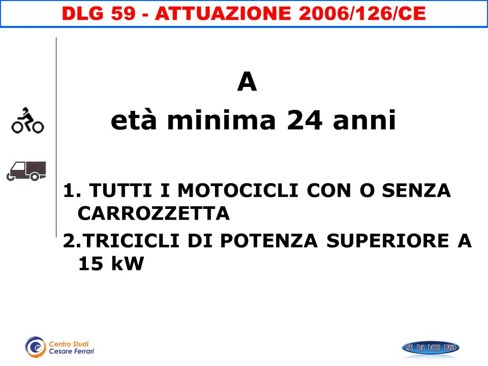 A età minima 24 anni DLG 59 - ATTUAZIONE 2006/126/CE