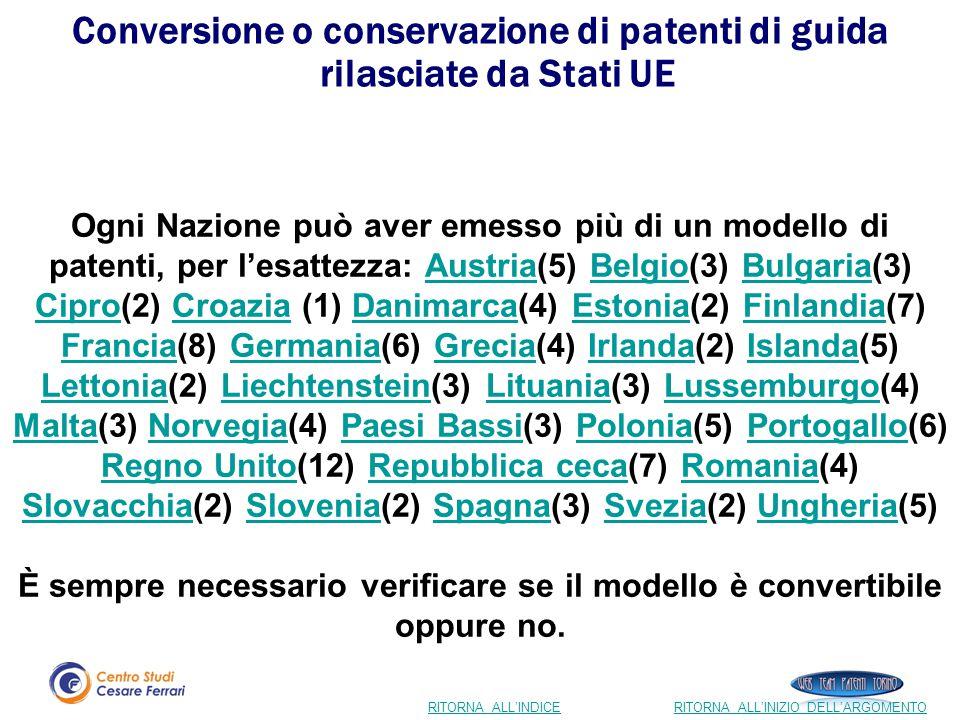 Conversione o conservazione di patenti di guida rilasciate da Stati UE