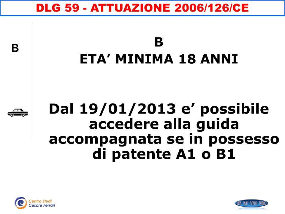 DLG 59 - ATTUAZIONE 2006/126/CE B. ETA' MINIMA 18 ANNI.