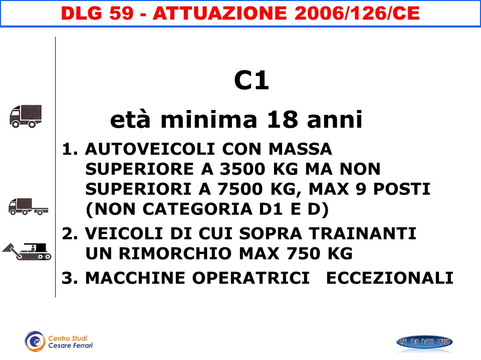 età minima 18 anni C1 DLG 59 - ATTUAZIONE 2006/126/CE