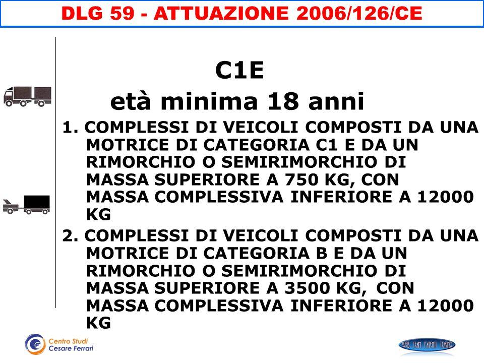 C1E età minima 18 anni DLG 59 - ATTUAZIONE 2006/126/CE