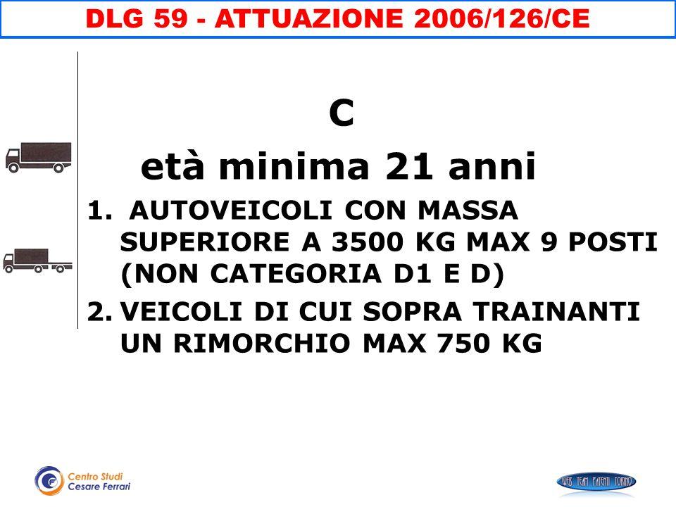 C età minima 21 anni DLG 59 - ATTUAZIONE 2006/126/CE