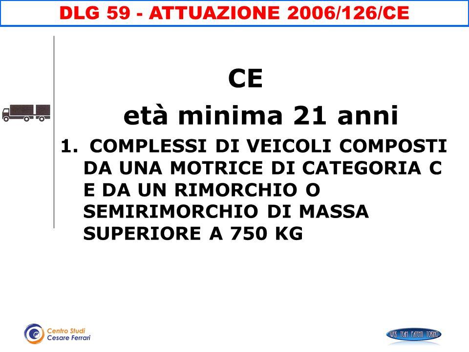 CE età minima 21 anni DLG 59 - ATTUAZIONE 2006/126/CE