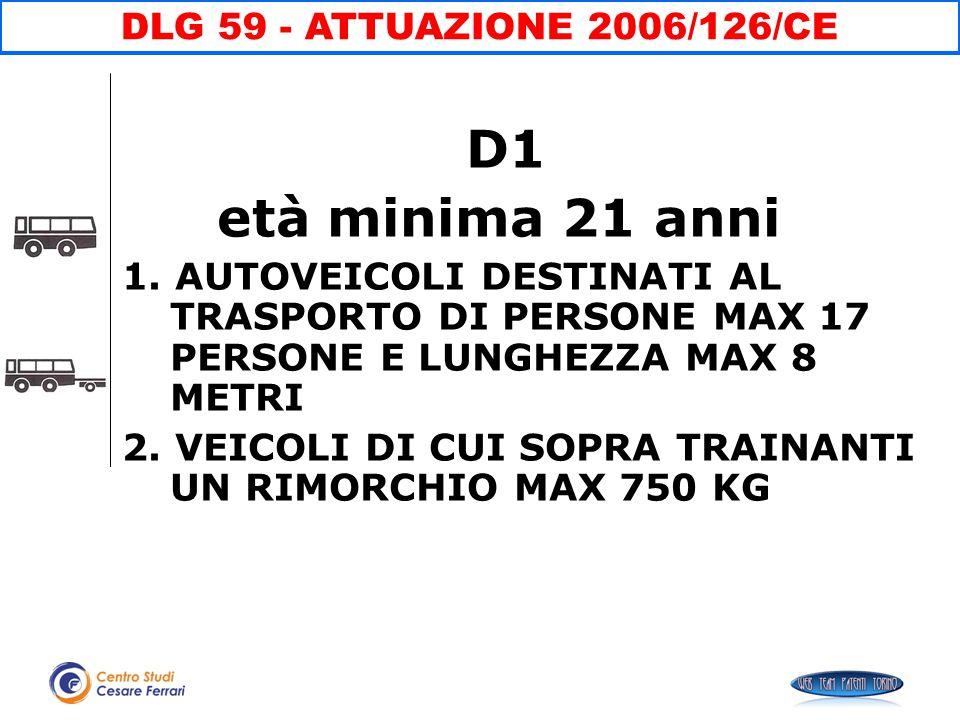 D1 età minima 21 anni DLG 59 - ATTUAZIONE 2006/126/CE