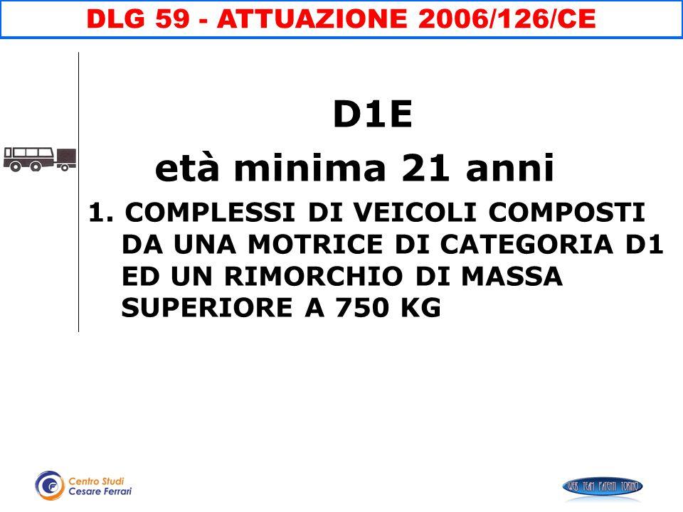 D1E età minima 21 anni DLG 59 - ATTUAZIONE 2006/126/CE