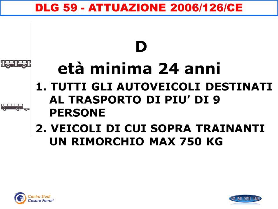 D età minima 24 anni DLG 59 - ATTUAZIONE 2006/126/CE