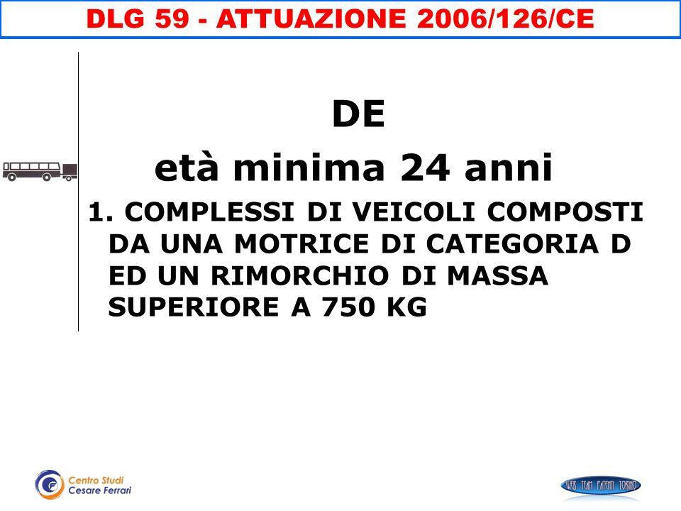 DE età minima 24 anni DLG 59 - ATTUAZIONE 2006/126/CE