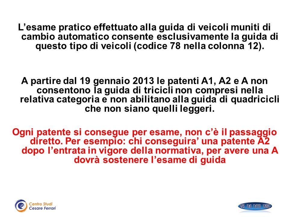 L'esame pratico effettuato alla guida di veicoli muniti di cambio automatico consente esclusivamente la guida di questo tipo di veicoli (codice 78 nella colonna 12).