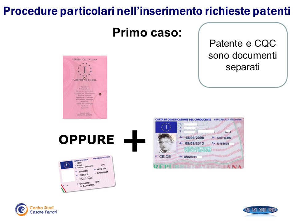 Patente e CQC sono documenti separati