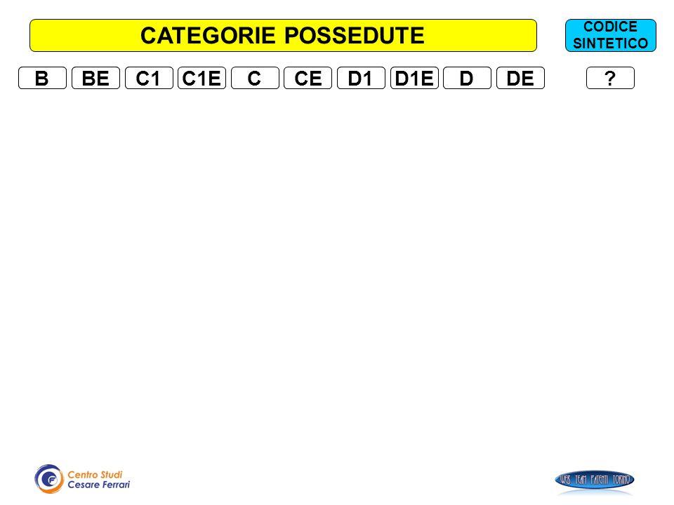 CATEGORIE POSSEDUTE B B BE BE C1 C1 C1E C1E C C CE CE D1 D1 D1E D1E D