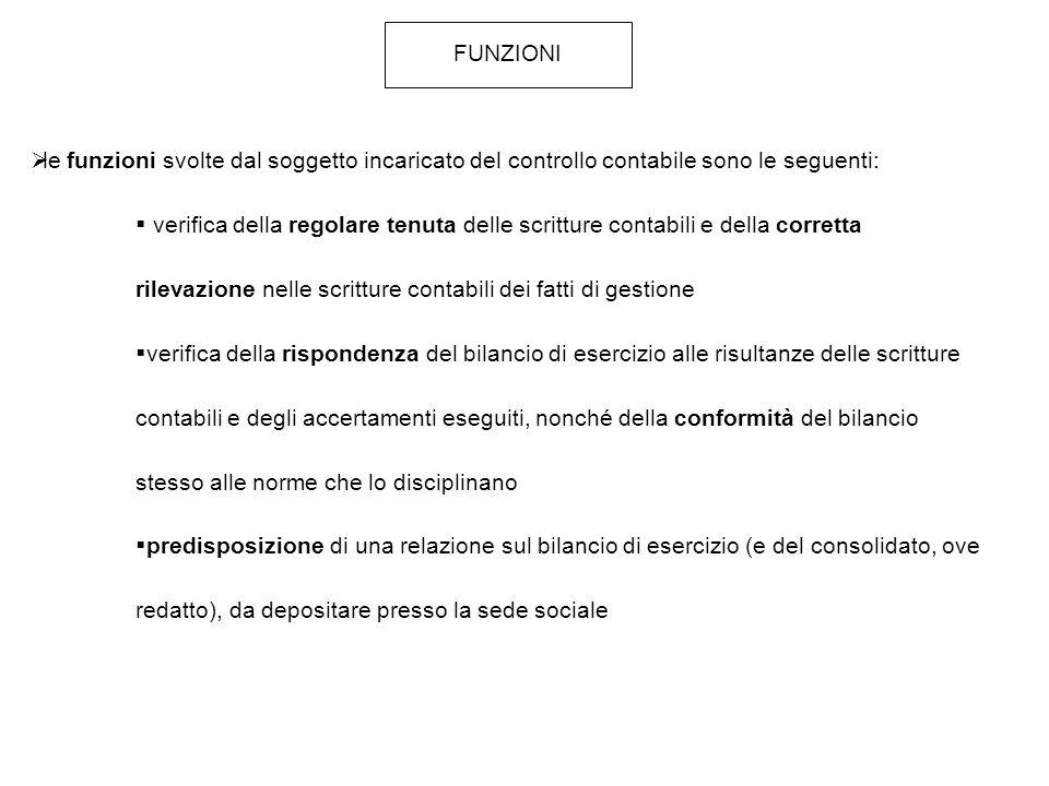 FUNZIONI le funzioni svolte dal soggetto incaricato del controllo contabile sono le seguenti: