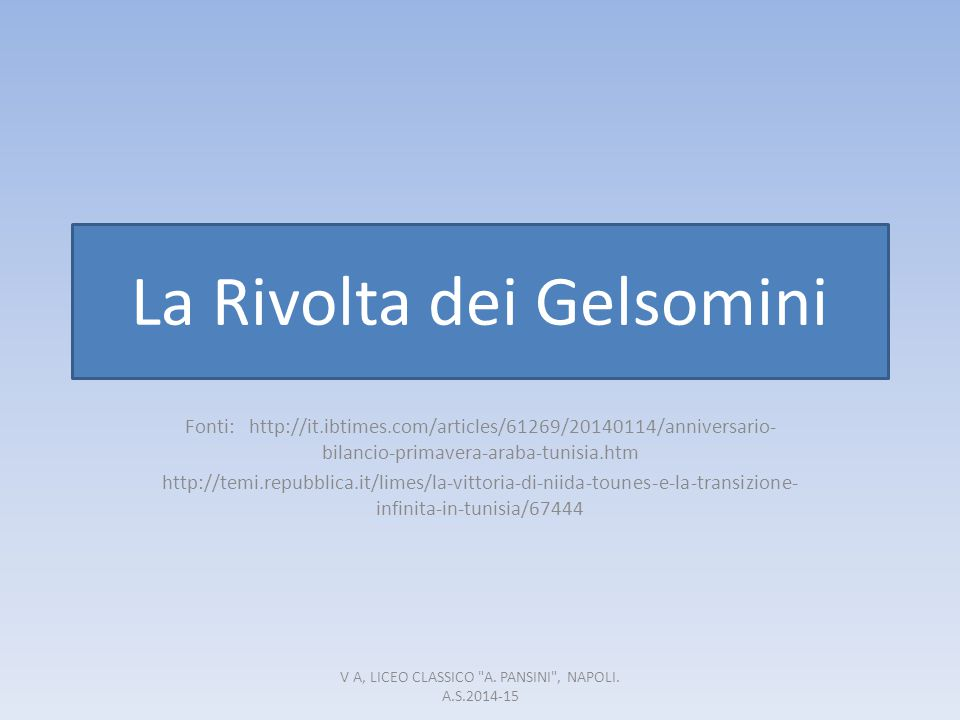 La Rivolta dei Gelsomini