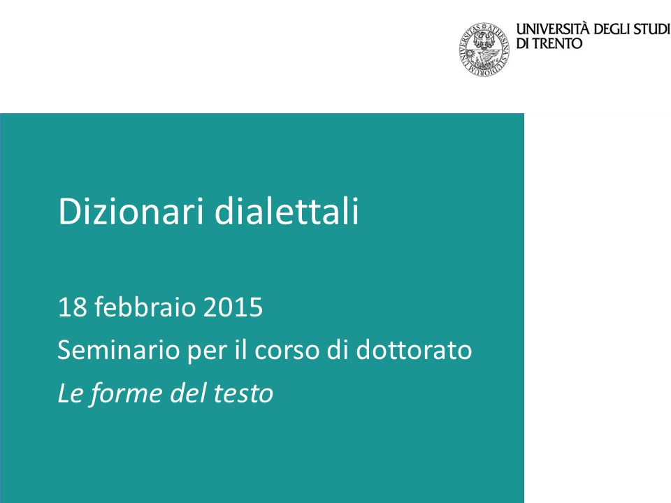 Dizionari dialettali 18 febbraio 2015