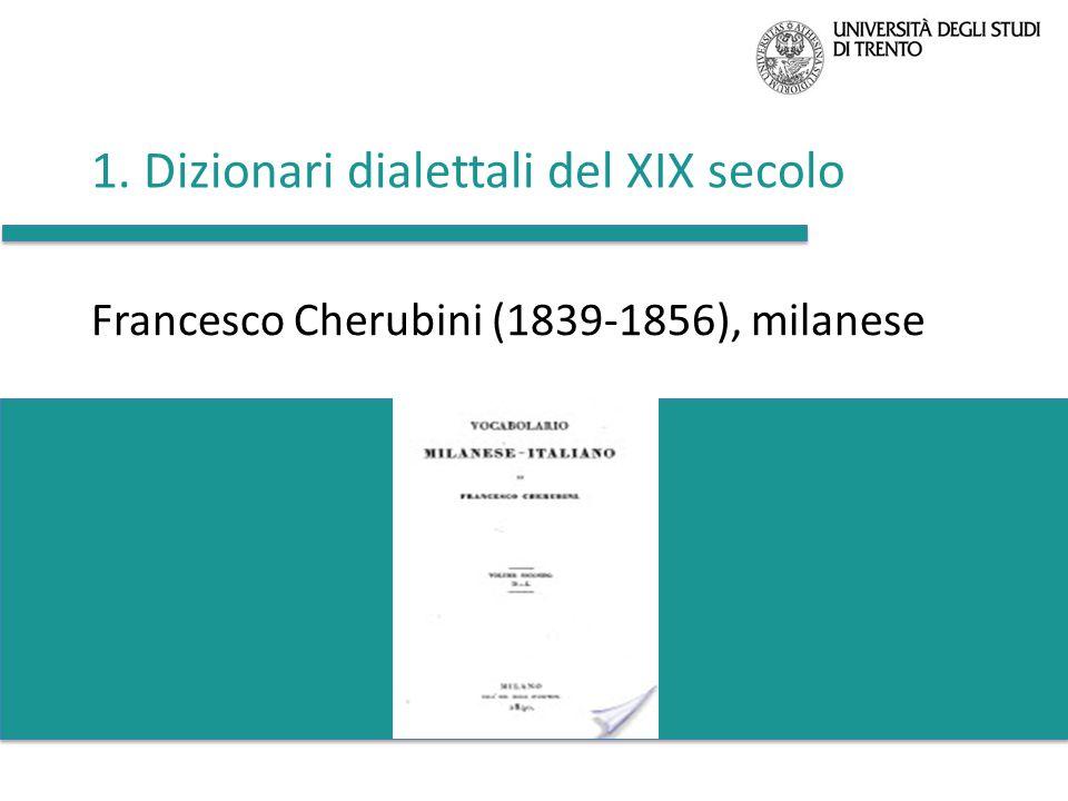 1. Dizionari dialettali del XIX secolo
