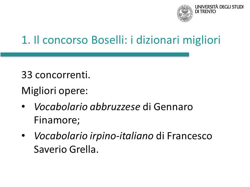 1. Il concorso Boselli: i dizionari migliori