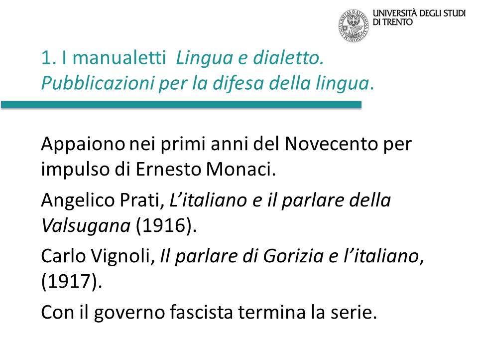 1. I manualetti Lingua e dialetto