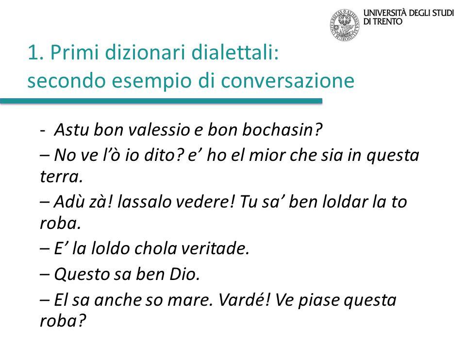 1. Primi dizionari dialettali: secondo esempio di conversazione