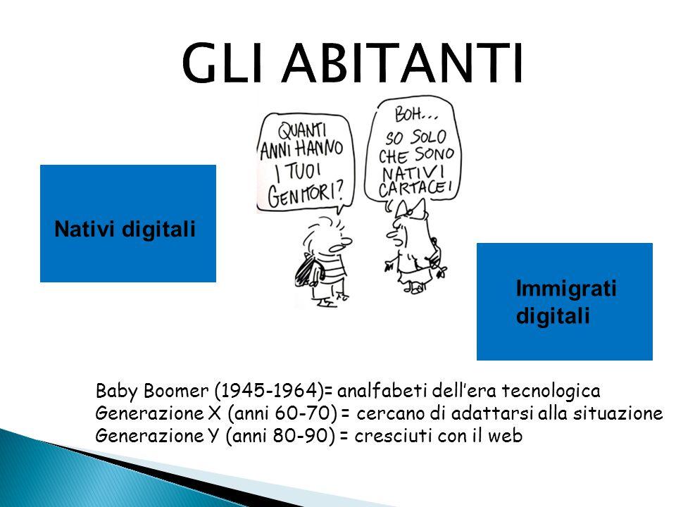 GLI ABITANTI Nativi digitali Immigrati digitali