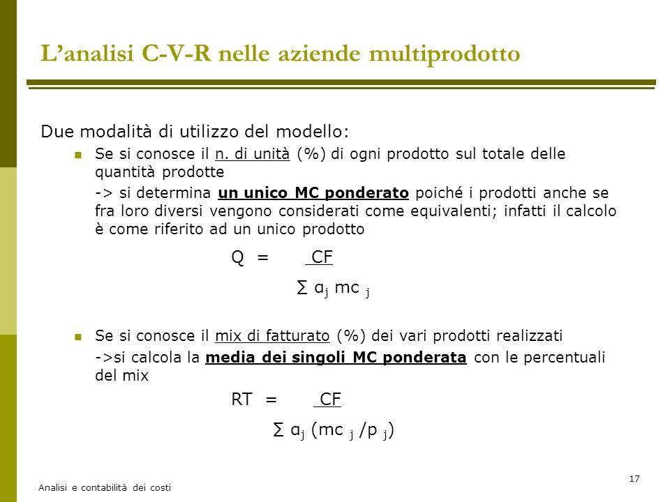 L'analisi C-V-R nelle aziende multiprodotto