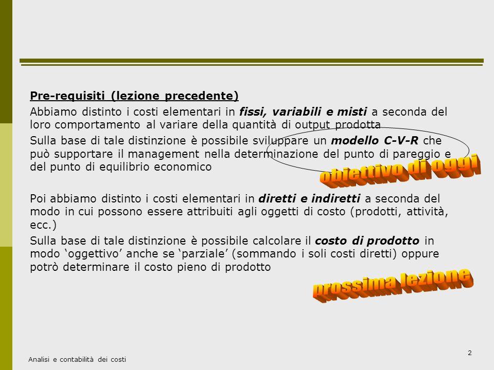 obiettivo di oggi prossima lezione Pre-requisiti (lezione precedente)
