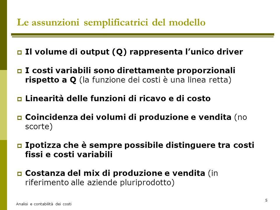 Le assunzioni semplificatrici del modello
