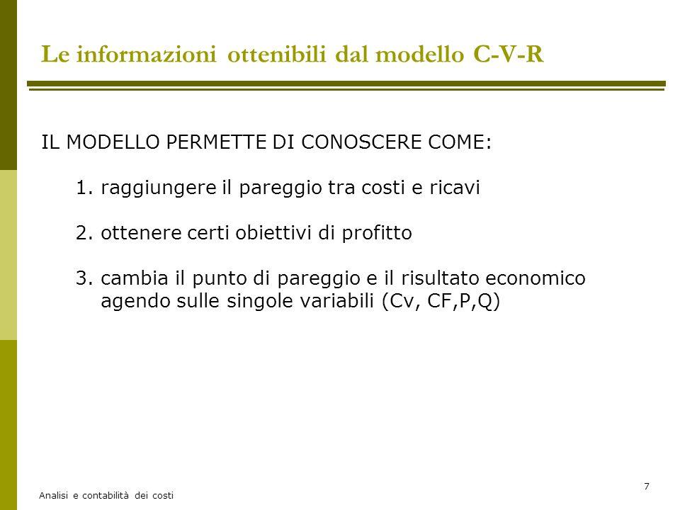 Le informazioni ottenibili dal modello C-V-R