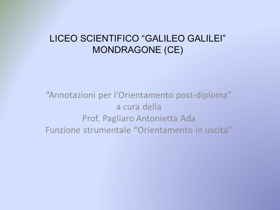 LICEO SCIENTIFICO GALILEO GALILEI MONDRAGONE (CE)