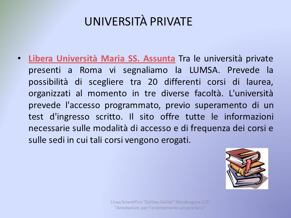 UNIVERSITÀ PRIVATE